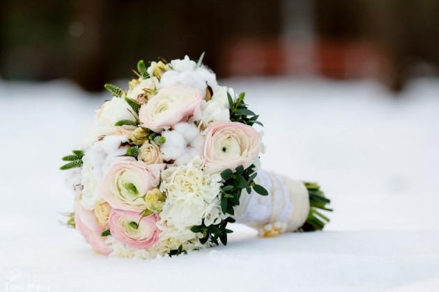 Свадебный букет невесты зимой